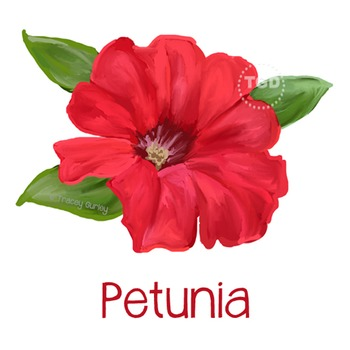 Red Petunia Painting - petunia clip art Printable Tracey Gurley Designs