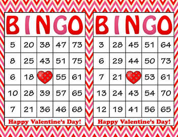Red Pink Chevron Valentine's Day Bingo - 100 Printable Bin