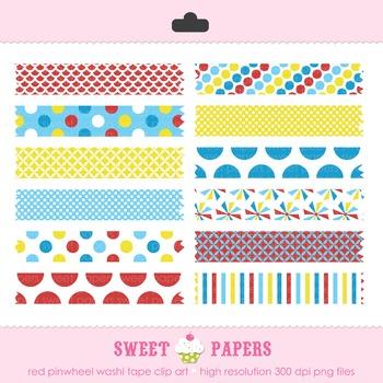 Red Pinwheel Washi Tape Digital Clip Art Set - by Sweet Papers