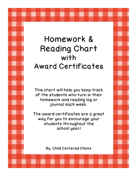 Homework and Reading Teacher Tracking Chart with Award Certificates Red Plaid
