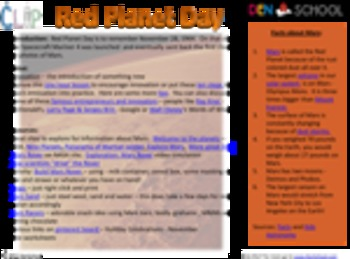 Red Planet Day Resources & Worksheets ~ November 28