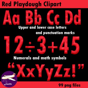 Red Playdough Look Alphabet Clipart for your Bulletin Board and More