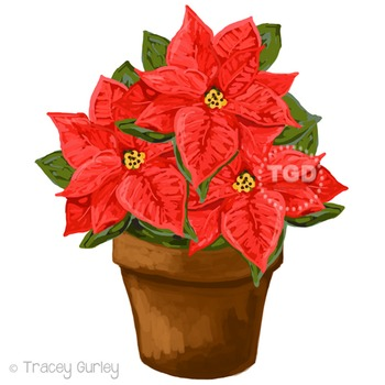 Red Poinsettia Clip Art - holiday clip art Printable Trace