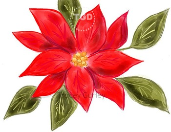 Red Poinsettia Original Holiday Art Download, Printable Tracey Gurley Designs