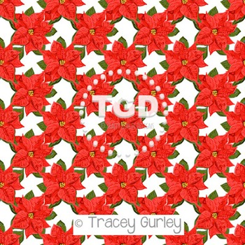 Red Poinsettia digital paper Printable Tracey Gurley Designs