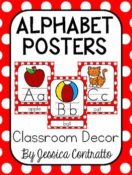 Red Polka Dot ABC Posters