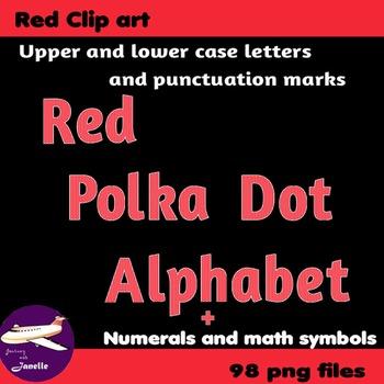 Red Polka Dot Alphabet Clip Art + Numerals, Punctuation an