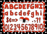 Red Polka Dot Alphabet Clip Art set with Letters, Numbers, Symbols, and Frame