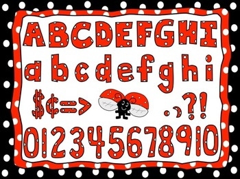 Red Polka Dot Alphabet Clip Art set with Letters, Numbers,