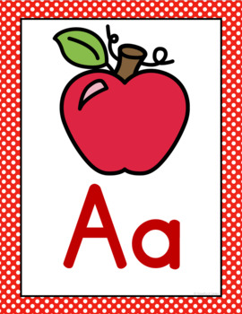 Red Polka Dot Alphabet Posters & Word Wall Cards