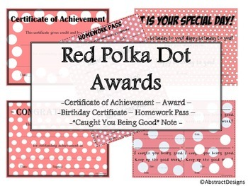 Red Polka Dot Awards Set