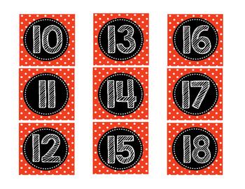 Red Polka Dot Calendar Numbers