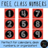 Red Polka Dot Calendar Numbers