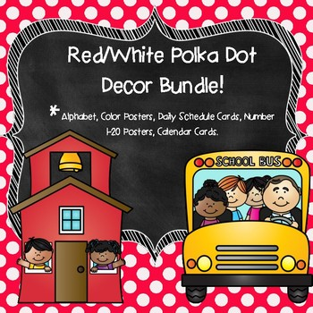 Red Polka Dot Classroom Decor Bundle