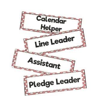 Red Polka Dot Classroom Job Labels