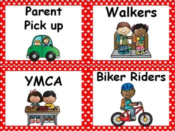 Polka Dot Classroom Labels - Red