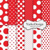 Red Polka Dot Digital Scrapbooking Paper Set, 12 Digital P