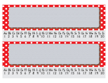 Red Polka Dot Editable Name Tags