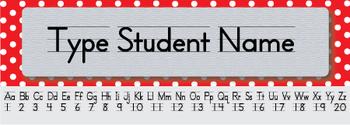 Red Polka Dot Editable Name Tags