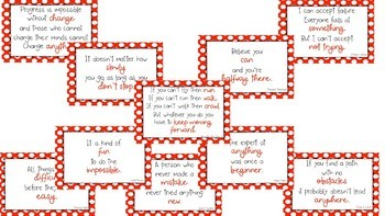 Red Polka Dot Growth Mindset Posters