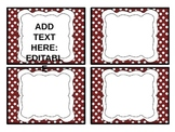 Red Polka Dot Labels and Pennant Banner *Free*