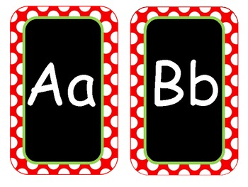 Red Polka Dot Letters/ English and Spanish