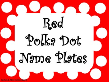 Red Polka Dot Name Plates