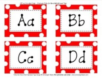 Red Polka Dot Word Wall Alphabet  Classroom Decor