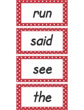 Red Polka Dot Word Wall Words