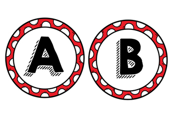 Red Polka Dot and Black Letters