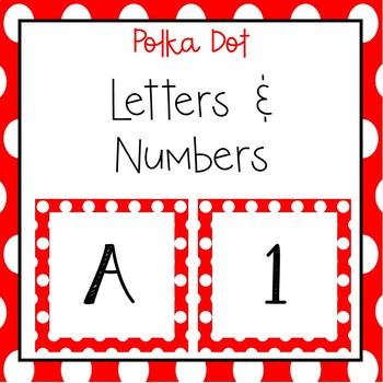 Red Polka dots letters and numbers for bulletin board and calendars