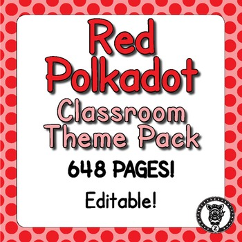 Classroom Theme Decor / Organization - Mega Bundle (Editable!) - Red Polkadot