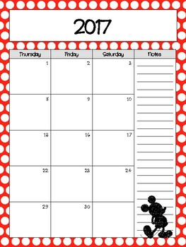 Red Polkadot Mickey Inspired Monthly Calendar Refill 2017-2018