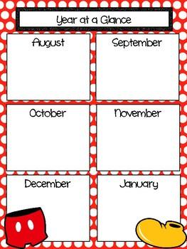Red Polkadot Mickey Inspired Monthly Calendar Refill 2017-2018