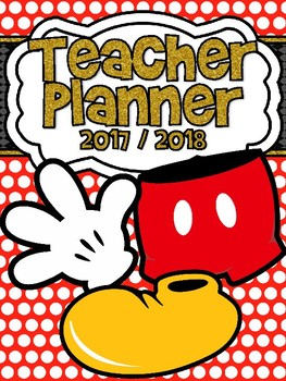 Red Polkadot Mickey Inspired Monthly and Weekly Calendar Refill 2017-2018
