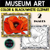 Red Poppy Museum Clipart inspired by Georgia O'Keeffe