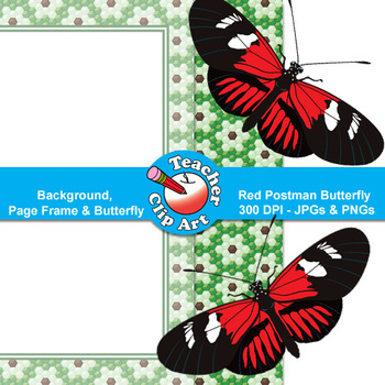 Red Postman Butterfly Clip Art — Backgrounds, Page Frames & Butterfly