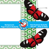 Red Postman Butterfly Clip Art — Backgrounds, Page Frames
