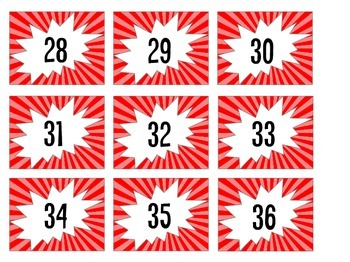 Red Powerburst Cubby Number Labels with Blank Labels Included