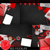 Red Primary Brights Style Mockups