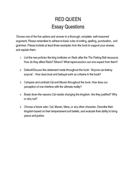 Red Queen Essay Questions