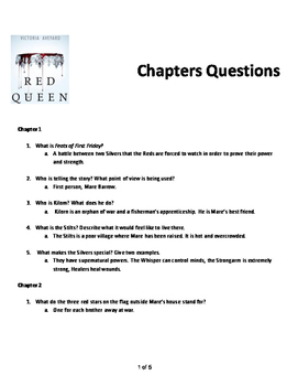 Red Queen by Victoria Aveyard Chapter Questions