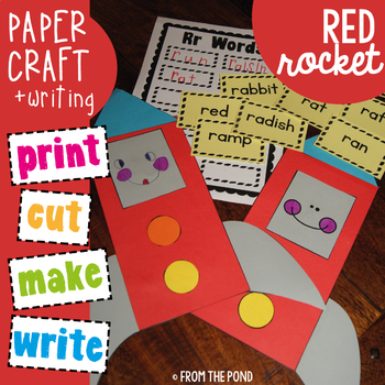 Red Rectangle Rocket - Cut Paste Write Activity