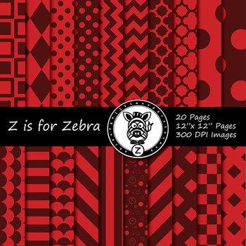 Red / Red  dual tone Digital Paper Pack 1 - CU ok { ZisforZebra}