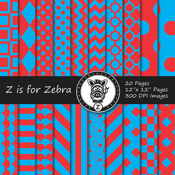 Red / Aqua  dual tone Digital Paper Pack 1 - CU ok { ZisforZebra}