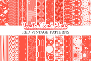 Red Retro digital paper, Geometric Vintage patterns, Scarlet digital Vermilion