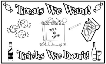 Red Ribbon Week Poster: Treats We Want! Tricks We Don't!