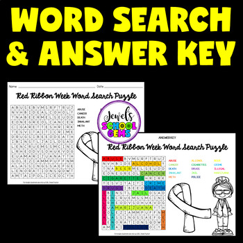Red Ribbon Week Activities (Red Ribbon Week Word Search)