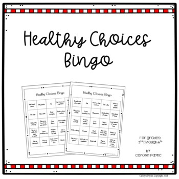 Red Ribbon Week Activities:  Healthy Choices Bingo