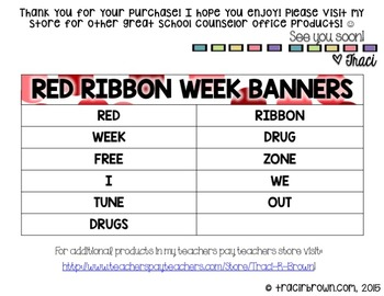 Red Ribbon Week Banners (Tune Out Drugs)